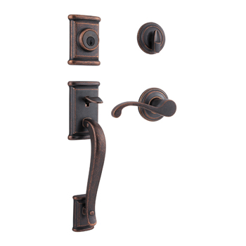 Kwikset 800ADHXCHL 501 SMT Ashfield Single Cylinder Handleset with Commonwealth Lever - Rustic Bronze