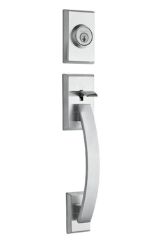 Kwikset 801TVH-LIP-S Tavaris Double Cylinder Sectional Contemporary Handleset - Polished Chrome