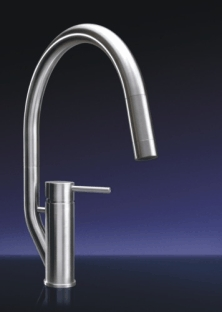 MGS Designs RAK-P Randa K Single Hole Pull Out Kitchen Faucet - Polished Stainless Steel