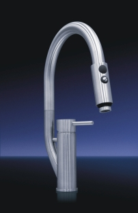 MGS Designs RAKD-P Randa KD Single Hole Pull Out Dual Spray Kitchen Faucet - Polished Stainless Steel