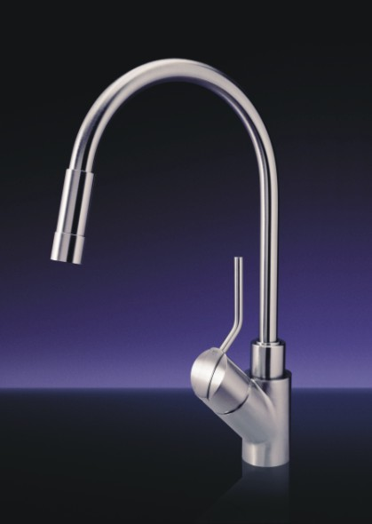 MGS Designs UN-P Unico Single Hole Pull Out Kitchen Faucet - Polished Stainless Steel