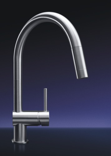 MGS Designs VE-M Vela Single Hole Pull Out Kitchen Faucet - Matte Stainless Steel
