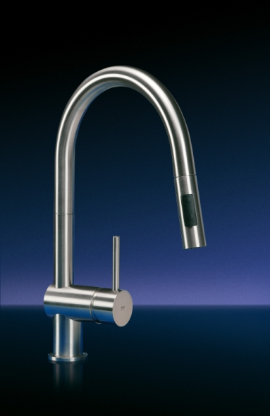MGS Designs VED-P Vela Single Hole Pull Out Dual Spray Kitchen Faucet - Polished Stainless Steel