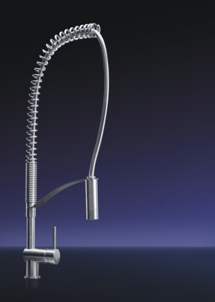 MGS Designs VELD-P Vela Single Hole Pull Out Dual Spray Kitchen Faucet - Polished Stainless Steel