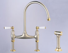MH460 Franke Manor House Gooseneck Bridge Kitchen Faucet with Side Spray - Windsor Bronze (Pictured in Satin Nickel/NuBrass)