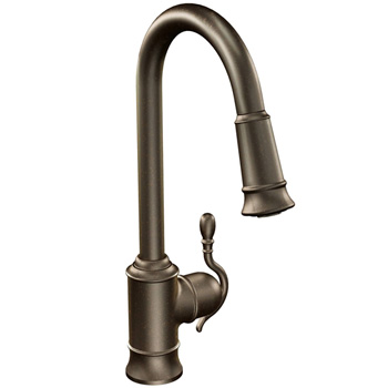Moen 7615ORB Woodmere One-Handle High Arc Pulldown Kitchen Faucet - Oil Rubbed Bronze
