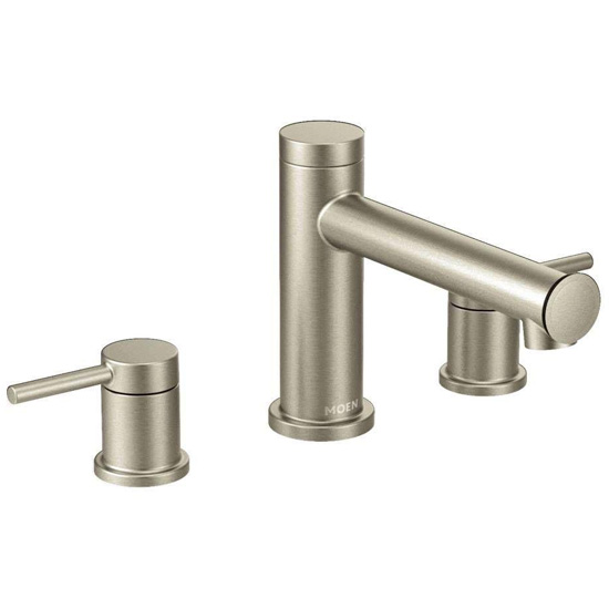 Moen T393BN Deck Mounted Roman Tub Faucet Trim from the Align Collection (Less Valve) - Brushed Nickel