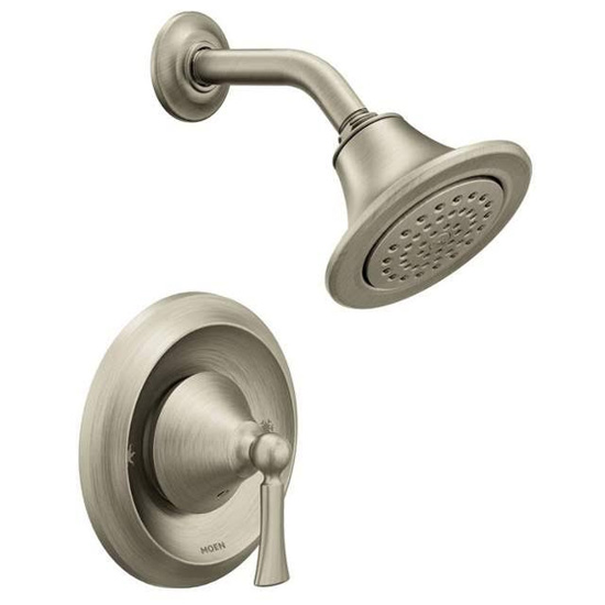 Moen T4502BN Wynford Single Handle Posi-Temp Pressure Balanced Shower Trim with 2.5 GPM Shower Head (Less Valve) - Brushed Nickel