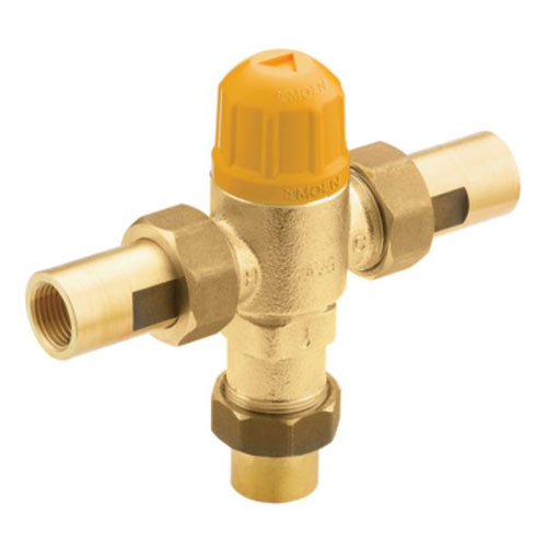 Industrial Thermostatic Mixing Valve: Moen 104465 Commercial Adjustable Temperature Thermostatic