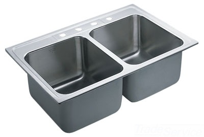 Moen 22121 Commercial 18 Gauge Double Bowl Kitchen Sink - Stainless Steel
