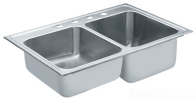 Moen 22122 Commercial 18 Gauge Double Bowl Kitchen Sink - Stainless Steel