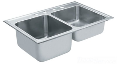 Moen 22123 Commercial 18 Gauge Double Bowl Kitchen Sink - Stainless Steel
