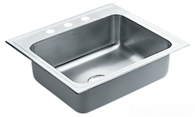 Moen 22125 Commercial 18 Gauge Single Bowl Kitchen Sink - Stainless Steel