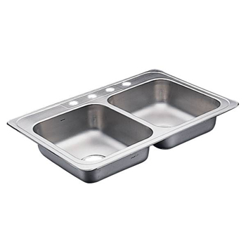 Moen 22129 Commercial 20 Gauge Double Bowl Kitchen Sink - Stainless Steel