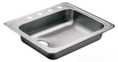 Moen 22131 Commercial 20 Gauge Single Bowl Kitchen Sink - Stainless Steel
