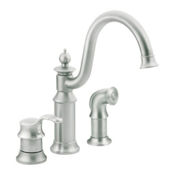 Moen S711CSL Waterhill Single Handle Kitchen Faucet with Side Spray - Classic Stainless