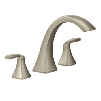 Moen T693BN Voss Two Handle High Arc Roman Tub Faucet Trim - Brushed Nickel