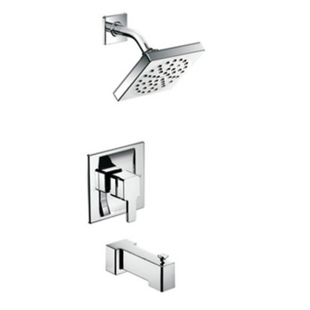 Moen Premier TS2713 90 Degree Posi-Temp Single Handle Pressure Balanced Tub and Shower Trim with Metal Lever Handle and Single Function Showerhead and Spout - Chrome