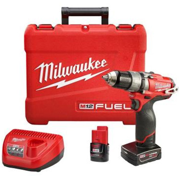 Milwaukee Tools 2404-22 M12 Fuel 12-Volt Brushless 1/2 in. Hammer Drill and Driver Kit