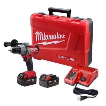 Milwaukee 2604-22 M18 FUEL 18-Volt Lithium-Ion Brushless 1/2 in. Hammer Drill/Driver XC Battery Kit