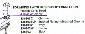 Moen 136103SL Protege Replacement Spray Head & Hose Assembly Brilliance Stainless
