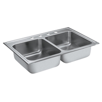 Moen 22218 Camelot Self-Rimming Double Bowl Stainless Steel Kitchen Sink