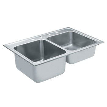 Moen 22219 Camelot Self-Rimming Double Bowl Stainless Steel Kitchen Sink