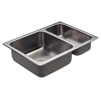 Moen 22236 Camelot Self-Rimming Double Bowl Stainless Steel Kitchen Sink
