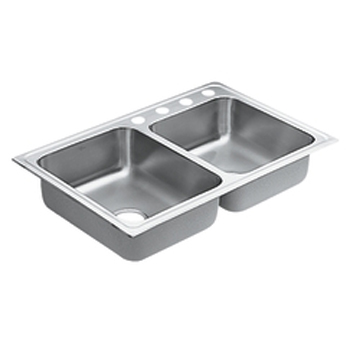 Moen 22316 Lancelot Self-Rimming Double Bowl Stainless Steel Kitchen Sink