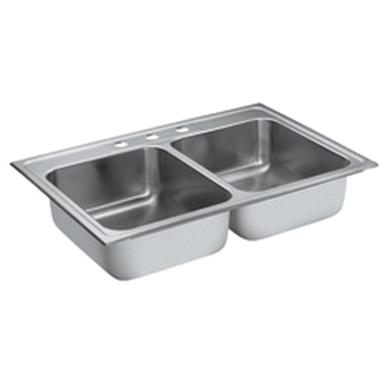 Moen 22317 Lancelot Self-Rimming Double Bowl Stainless Steel Kitchen Sink