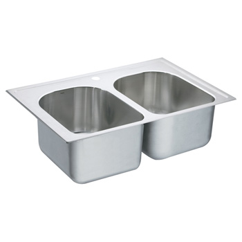 Moen 22393 Lancelot Self-Rimming Double Bowl Stainless Steel Kitchen Sink