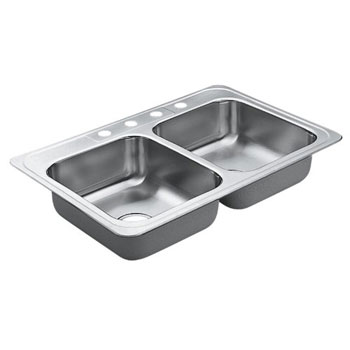 Moen 22827 Excalibur Self-Rimming Double Bowl Stainless Steel Kitchen Sink