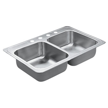 Moen 22867 Excalibur Self-Rimming Double Bowl Stainless Steel Kitchen Sink