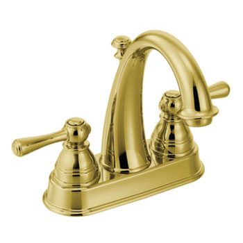 Moen 6121P Kingsley Two Handle Centerset Lavatory Faucet - Polished Brass