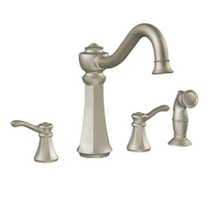 Moen 7068CSL Vestige Two-Handle Kitchen Faucet with Side Spray Classic Stainless