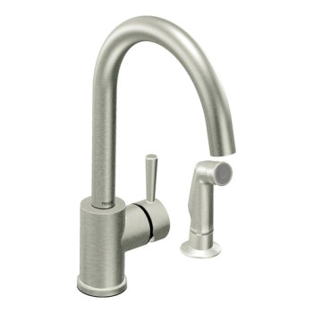 Moen 7106CSL Level Single Handle Kitchen Faucet with Side Spray Classic Stainless