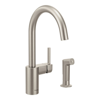 Moen 7165SRS Align Single Handle High Arc Kitchen Faucet with Side Spray - Spot Resist Stainless
