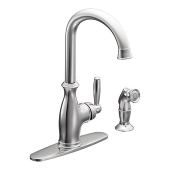 Moen 7735 Brantford Single Handle High Arc Kitchen Faucet with Side Spray - Chrome