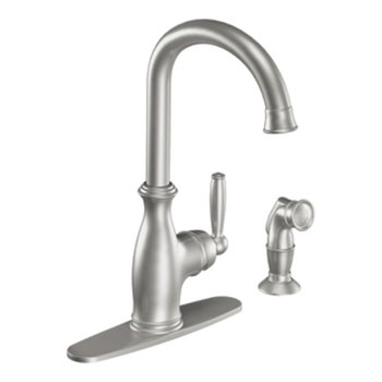 Moen 7735CSL Brantford Single Handle High Arc Kitchen Faucet with Side Spray - Stainless