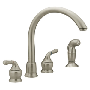 Moen 7786SL Monticello Two-Handle Kitchen Faucet with Cathedral Spout and Side Spray Stainless