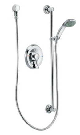Moen 8346EP15 Commercial Single Handle Pressure Balanced Hand Shower Valve  Trim With Slide Bar And Hose   Chrome