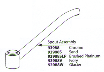 Moen 93988W Chateau Replacement Spout Assembly Glacier