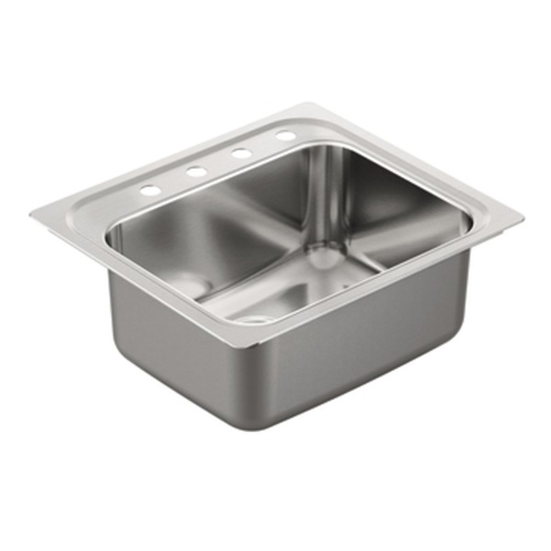 Moen G181954 1800 Series 18 Gauge 4 Hole Single Bowl Drop in Kitchen Sink - Stainless Steel