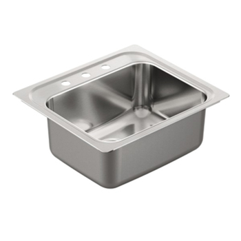 Moen G181973 1800 Series 18 Gauge 3 Hole Single Bowl Drop in Kitchen Sink - Stainless Steel
