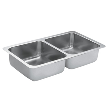 Moen G18211 1800 Series 18 Gauge Double Bowl Undermount Kitchen Sink - Stainless Steel