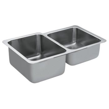 Moen G18231 1800 Series 18 Gauge Double Bowl Undermount Kitchen Sink - Stainless Steel
