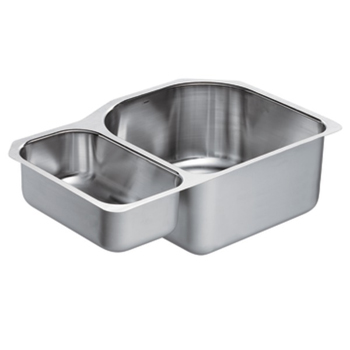 Moen G18237 1800 Series 18 Gauge Double Bowl Undermount Kitchen Sink - Stainless Steel