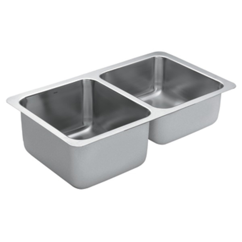Moen G18242 1800 Series 18 Gauge Double Bowl Undermount Kitchen Sink - Stainless Steel