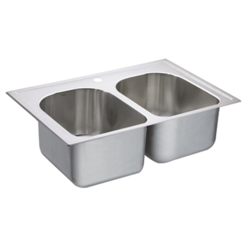 Moen G182571 1800 Series 18 Gauge 1 Hole Double Bowl Drop in Kitchen Sink - Stainless Steel
