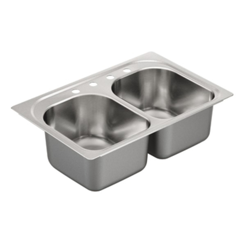 Moen G182574 1800 Series 18 Gauge 4 Hole Double Bowl Drop in Kitchen Sink - Stainless Steel